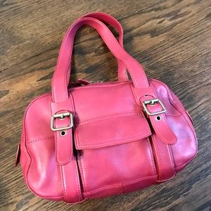 Marc Jacobs Red Leather Shoulder Bag with Initials